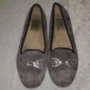 UGG  Bow rhinestone grey suede flats